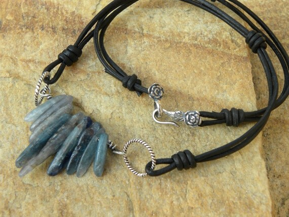 Natural Blue Kyanite, Sterling Silver and Leather Necklace