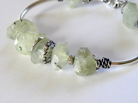 Handcrafted Sterling Silver and Prehnite Beaded Bracelet Heart Charm