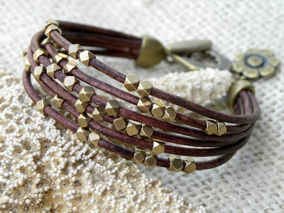 Brass and Chocolate Brown Leather Bracelet Multiple Strands
