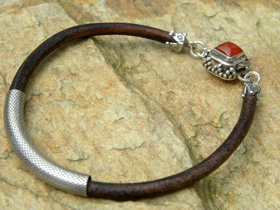 Chocolate Leather and Sterling Silver Bracelet Natural Carnelian Box Clasp