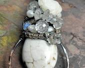 Wedding Cake Pendant, Silver, Copper, Magnesite, assorted stones, ThePurpleLilyDesigns