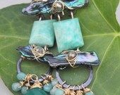 Fanciful Green, Gold Filled, Blacken Steel, Amazonite, Pearls, and  Green Onyx earrings, ThePurpleLilyDesigns