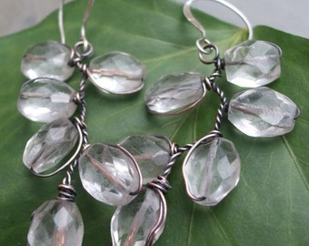 Ice Maiden, Antiqued Copper, Faceted Rock Crystal Quartz, and Silver, Earrings, ThePurpleLilyDesigns