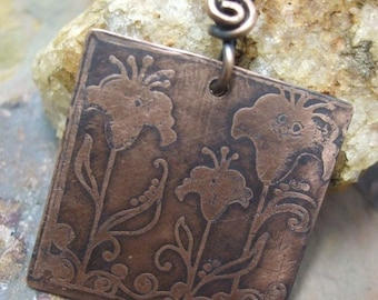 Wind Talkers, Antiqued and Etched Copper Floral Pendant, ThePurpleLilyDesigns