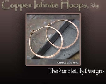 Copper Infinite Hoops,18g, XLrg, 1.5 inch, Handforged by ThePurpleLilyDesigns