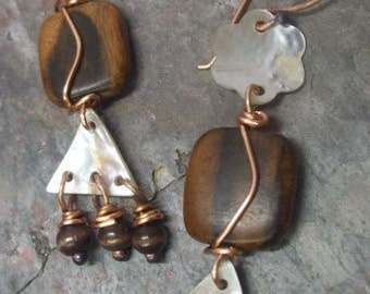 Natural Shapes, Copper, Shell, and Wood Earrings, ThePurpleLilyDesigns