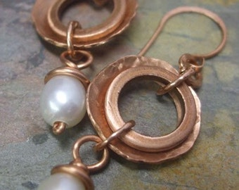 Cashmere, Copper and Pearl earrings, ThePurpleLilyDesigns