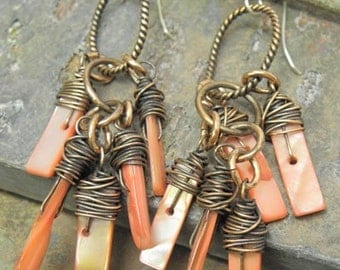Shell Swag, Mother of Pearl and Antiqued Copper earrings, ThePurpleLilyDesigns