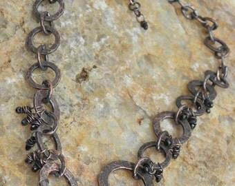 Black Fringe Necklace, Antiqued Copper and Spinel, ThePurpleLilyDesigns
