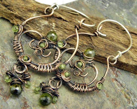 Peridot Gate,Silver, Copper, Peridot, and Olive CZ Brios, earrings, ThePurpleLilyDesigns