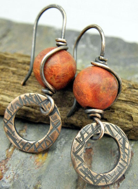 Coral Wish, Sponge Coral and antiqued Copper earrings, ThePurpleLilyDesigns