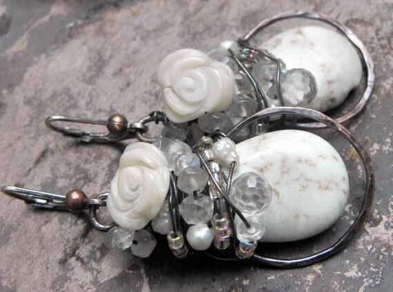 Wedding Cake earrings, Silver, Copper, Magnesite, assorted stones, ThePurpleLilyDesigns