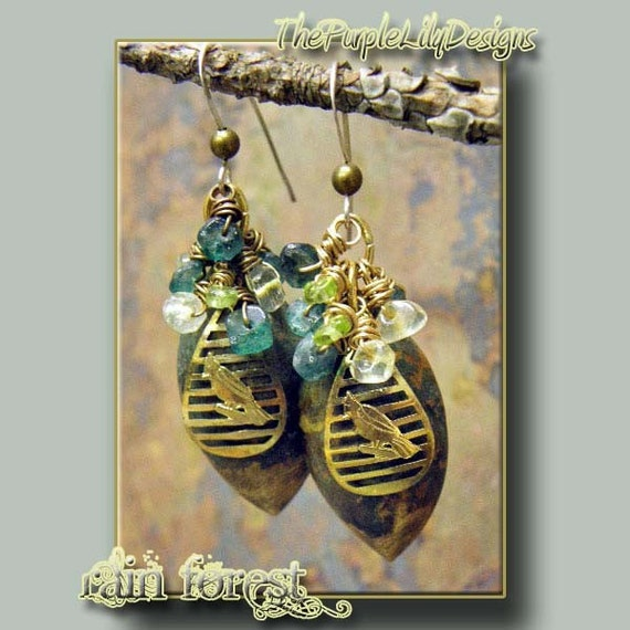 Rain Forest, Brass, Silver, Citrine, Peridot, and Green Onyx earrings, ThePurpleLilyDesigns