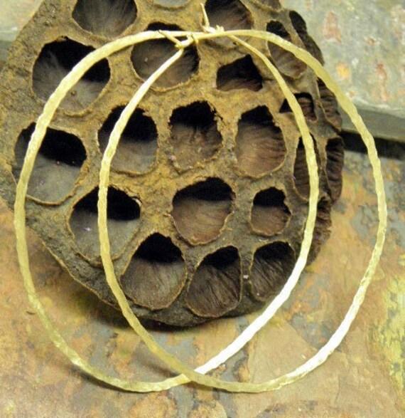 Brass Infinite Hoops,18g, 3.5 inch, Handforged by ThePurpleLilyDesigns