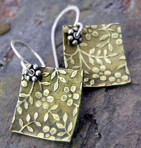 Romance,sml, Silver and Brass earrings, ThePurpleLilyDesigns