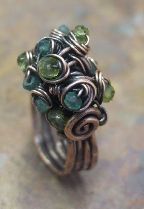 Magazine feature, Woodland Moss Ring, Copper, Citrine, Green Onyx and Peridot,ThePurpleLilyDesigns