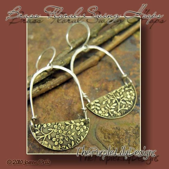 Brass Floral Swing Hoops, Antiqued Brass and Silver, ThePurpleLilyDesigns