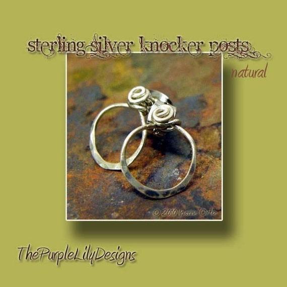 Spiral Sterling Silver Knocker Posts, natural, ThePurpleLilyDesigns