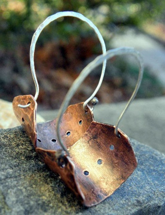 Eyelet Hoops 2, Copper with Sterling Silver earwires, antiqued, ThePurpleLilyDesigns