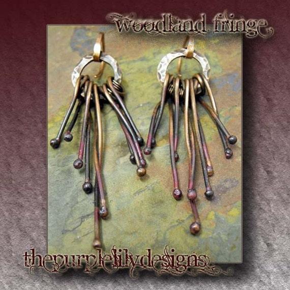 Woodland fringe earrings, ThePurpleLilyDesigns