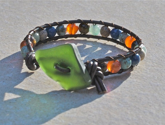 Chan Luu Style Leather Beaded Wrap Bracelet With Recycled Beach Glass - Green