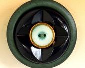 Vintage Button Brooch - Green Geometric