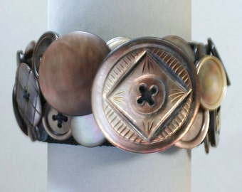 Carved Shell Button Bracelet
