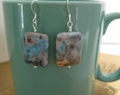 Stunning Blue Crazy Lace Agate Earrings Sterling Silver OOAK