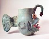 Fish Mug: Deep Sea Angler Fish Mug in Antique Copper Turquoise Green