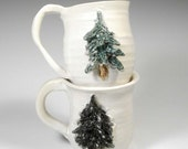 Pair of Pine Tree Mugs in Green and White