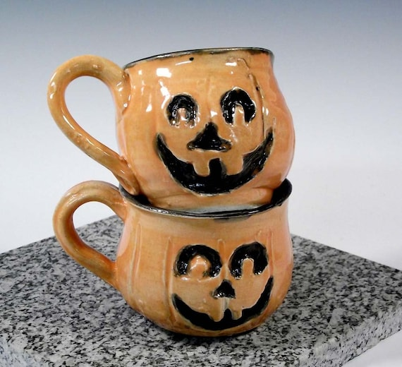 SALE Halloween Mugs: Pair of Orange Jack-o-Lantern Pumpkins