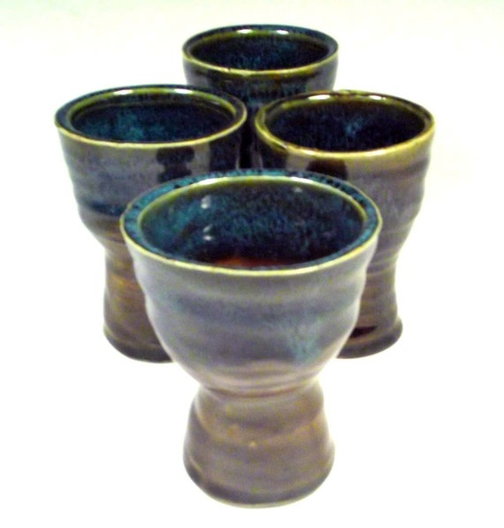 Pottery Wine Goblet Set in Amber Brown and Marine Blue