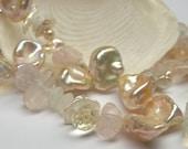 Double Strand Bracelet of Peach Pearls, Pineapple Quartz Teardrops, Pink Quartz Nuggets and White Moonstones