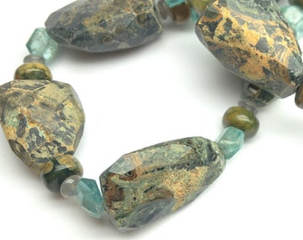 Rhyolite and Moonstone Necklace with Apatite Chips, Sterling Silver Floral Clasp Artists' Necklace