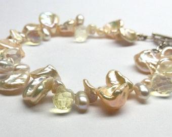Peach Pearl Bracelet with Yellow Quartz Teardrops, Pastel Colors, Soft, Feminine, Gift of the Sea