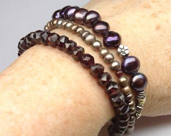 Triple Strand Bracelet of Garnets, Pearls, Sterling Silver Flower Beads, Sterling Fish Hook Clasp