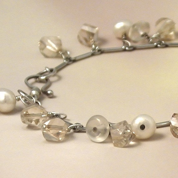 Moonstone Bracelet with Swarovski Crystals and Pearls