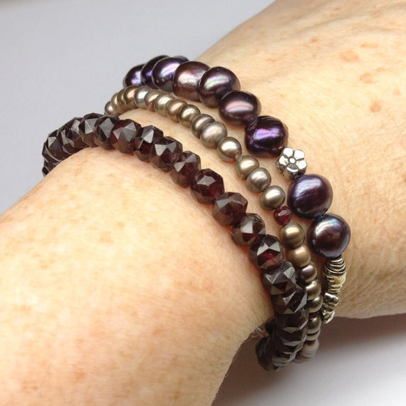 Triple Strand Bracelet of Garnets, Pearls, Sterling Silver Flower Beads, Sterling Fish Hook Clasp