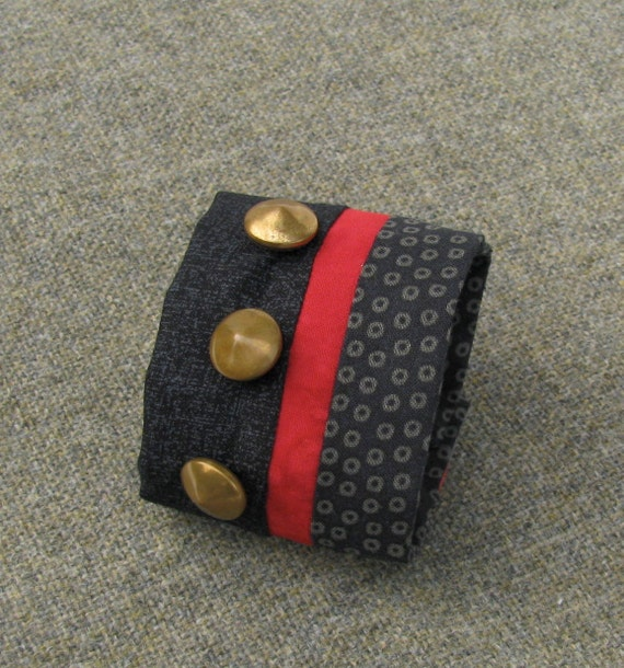 Fabric Cuff in Black, Red and Brass