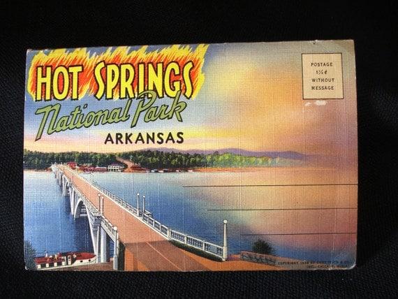 Linen Multi Fold Postcard - Hot Springs National Park - c1934