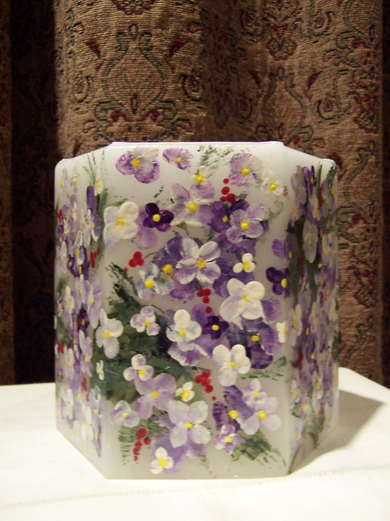 Violets hurricane luminary candle / spring violets / handpainted signed / wedding centerpiece floral ooak.