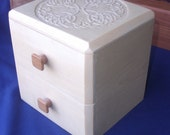 Figured Aspen Celtic Knot Jewelry Box with 2 drawers
