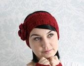 Red headband/ ear warmer with crochet flower