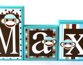 Sock Monkey Personalized Blocks - Max Collection- Red, Brown, White and Blue - Baby - Teacher - Family