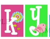 Skye Collection Personalized Blocks - Flowers and Birds - colorful name blocks