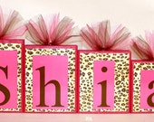 Shia Collection Personalized Blocks - Leopard Print with Hot Pink Name Blocks - Baby shower
