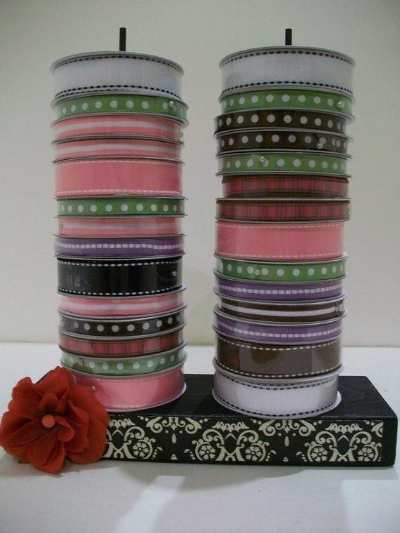 Black and White Damask Ribbon Spool Holder - Can easily hold more than 30 spools of ribbon - Can be custom made any color