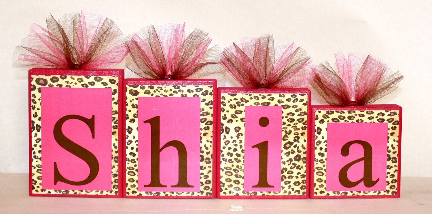 shia collection personalized blocks leopard print with hot