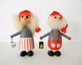 hand painted swedish holiday tomte elf man and one-armed woman