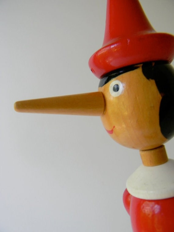 Vintage wood pinocchio 16 inch high by civilizedmodern on etsy